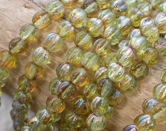5mm Chrysolite Celsian Czech Glass Melon Round Beads, 4167, Chrysolite Celsian Melon Beads, 50 Beads