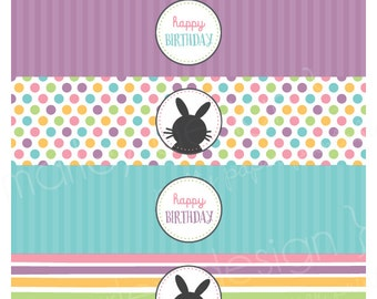 Easter Drink Labels Printable Easter Water Bottle Wrapper Easter Party Decor Bunny Birthday Decor Bunny Party Bunny Drink Wrap Bunny Stripes