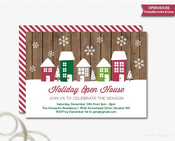 neighborhood party invitation printable christmas open house, Party invitations