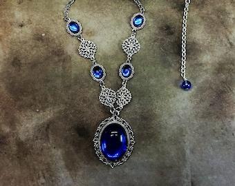 Sapphire Medieval Necklace Renaissance Jewelry Cosplay Blue Ren Faire