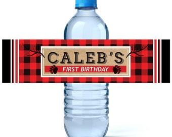 Lumberjack Birthday Water Bottle Labels - Birthday Water Bottle Label - Personalized Water Bottle - Lumberjack - Lumberjack Party
