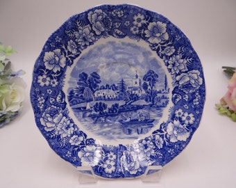 """Vintage Palissy Pottery England Thames River Scenes """"Bray Bucks""""  Large Saucer or Underplate"""