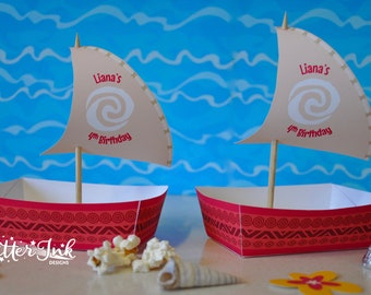 Moana Polynesian boat food snack trays and sail toppers for birthday party - PERSONALISED pdf printable treat favor popcorn box