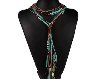 After Life Accessories Handmade Turquoise Y- shape Multi Strands Tribal Necklace