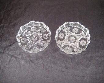 Small round decorative glass ashtrays, pair of pressed glass ashtrays, mid century, set of vintage diamond and star pattern ashtrays, 1375