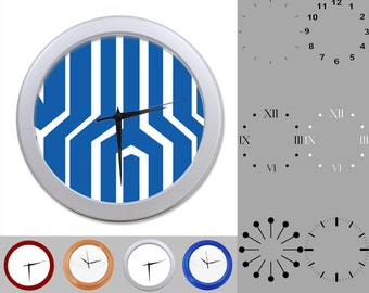 Blue Chunky Lined Wall Clock, Abstract Design, Artistic Linear, Customizable Clock, Round Wall Clock, Your Choice Clock Face or Clock Dial