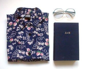 vintage printed shirt, button front shirt, printed blouse, rayon blouse, 80's blouse, judy knapp, fruit print shirt, printed button front