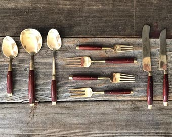 Mid Century Modern Vintage Thai Brass and Rosewood or Teak Flatware and Serving Set with Wood Case