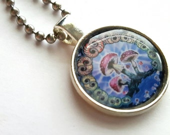 Psychedelic Mushroom Silver Tray Necklace with Stainless Steel Ball Chain - nature - hippie