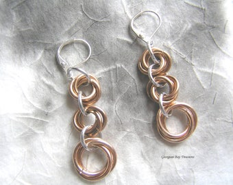 "Bronze and silver mobius chainmaille earrings 2"" fashion jewellery handmade gift under 20 gift for her GBT265"