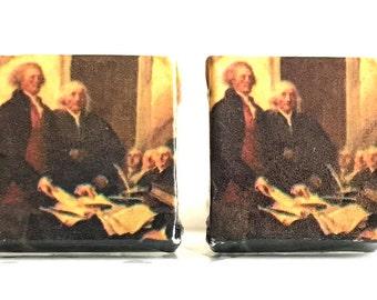 195: 1976 US Stamp Tile CuffLinks