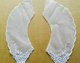 Vintage White Embroidered Organza Lace Collars
