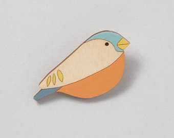 Wooden Bird Brooch - Bullfinch - Mother's Day Gift