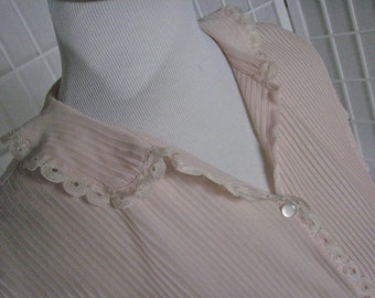 1950s Blush Nylon Blouse with Trim........size  Large to X-Large