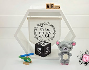 Modern Monochrome Birth Blox with personalised birth details 7cm Cube