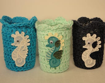 Mason Jar Cozy -Crocheted Candle Wrap - Jar Cozy - Candle Cozy - Mason Jar Sleeve - Seahorse - Aqautic Candle - Seahorses - Mason Jar Cover