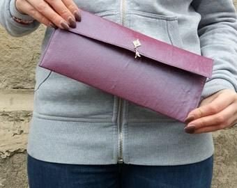Lilac taffeta clutch bag with contrasting colour lining, evening bag, lilac purse