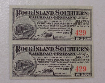 Pair of 1932 Rock Island Southern Railroad Company Bond Interest Coupons