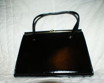 Original Akery of London Black Leather 1940's Handbag