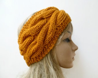 Chunky Wool Cable Headband - Women Hand Knitted Headband - Mustard Orange Wool Cabled Ear Warmer - Women Braided Headband - Clickclackknits