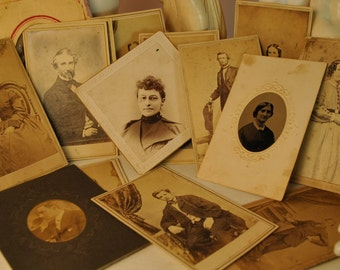 16 antique photo card collection paper ephemera vintage antique artwork, altered art, found object art, collage, sepia black white PHOTOS