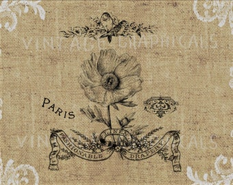 French Poppy flower Instant graphic digital download Image for iron on fabric transfer burlap decoupage scrapbook pillow card totes No gt115