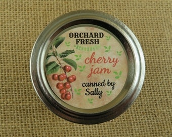 Mason Jar Canning Labels -  Vintage Cherry Design - Personalized Canning Labels -20- 2 Inch Round Or 12-2.5 inch Round Sticker Labels - vfc