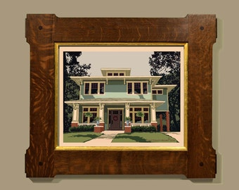 """Fine Art Print - """"Vintage 2 Story Craftsman Style House"""", American House Styles, Architectural print, Arts and Crafts decor, Historic House"""