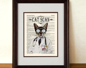 """Fine Art Print: -  """"Cat Scan"""" - 8.5"""" x 11"""" print, whimsical cat print, Veterinary gift,  Doctor gift, Medical intern gift, cat lover art"""