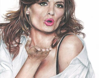 Colored Pencil Drawing Print of Stana Katic, who plays Kate Beckett on TV's Castle