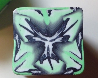 Complex polymer clay cane, mint green, black, gray