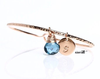 Genuine London Blue Topaz Charm Bangle / November Birthstone Bracelet / Blue Topaz Bracelet / December Birthstone Jewelry Gift