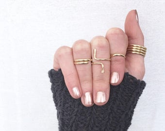 North and South Ring / Sterling Silver Wrap Ring / 14k Gold Filled Knuckle Ring / Rose Gold Midi Ring / Adjustable Open Frame Thumb Ring