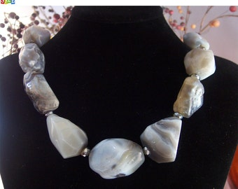 SALE - 25% Off Original Price Sterling Silver Agate Necklace