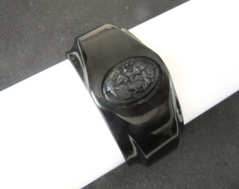 Art Deco Bakelite Bangle Black Hinged Clamper with Carved Cameo Size Small Antique