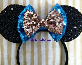 Minnie Mouse Ears Headband Black Shimmering Ears Choose your Own Bow Colors Fits Adults and Children Sequin Bow Ready to Ship