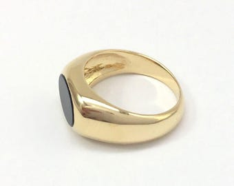 Mens Ring with Stone, Gold Plated Mens Ring, Gift For Men, Fathers Day Gift, Wife to Husband Gift, Anniversary Gift For Husband, Onyx Ring