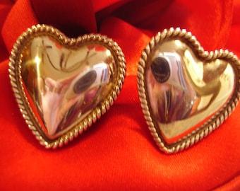 Large Sterling Silver Heart Stud Earrings