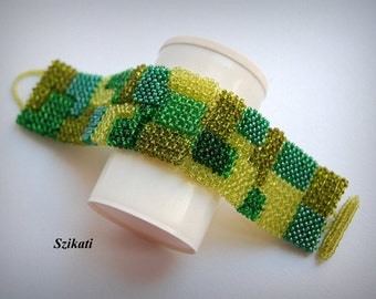 10% SALE Green Statement Seed Bead Cuff Bracelet, Beadwoven Fashion Jewelry, Women's Beaded Accessory, Right Angle Weave, Gift for Her, OOAK