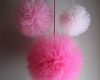 Tulle Poms, Any Colors, Hand Sewn and Woven Tulle Pom Poms, Nursery Decor, Baby Shower Decor, Baptism Decor, Bridal Shower Decor