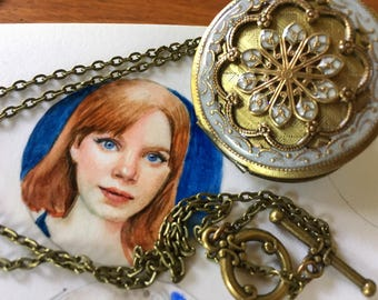 Miniature Watercolor Portrait from your photo, with your choice of locket