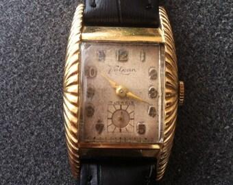 Vintage Valjean Avalon Swiss Watch, Art Deco , 10k Rolled Gold Plate, Fan Case, Long Lugs, Sub Seconds, Fantastic Rare Case Design