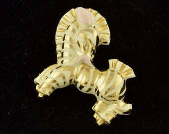 1950s Vintage Ceramic Zebra Brooch Glazed Kitsch ~ Lot 1270