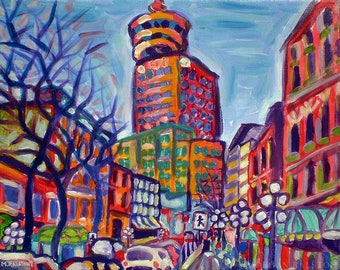 Art Print, Harbour Centre From Gastown, Vancouver City Skyline Art