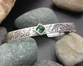 Sterling silver cuff bracelet, slim thick solid sterling with forest green tourmaline gemstone, foliage leaf pattern