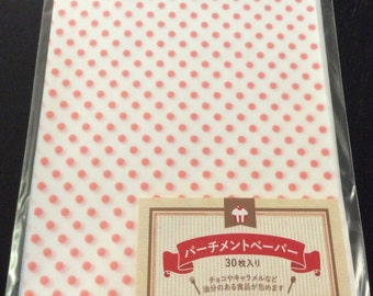 CLEARANCE 30 Sheets of Pre-Cut Mini Polka Dot Print Parchment Paper in Light Pink