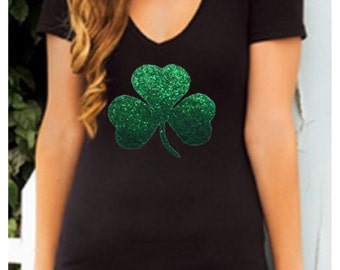 St Patricks Day Green Glitter Shamrock V-neck Short Sleeve Black T-Shirt S M L XL  Plus Size 1x 2x 3x 4x 5x