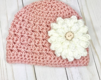 0-3 months hat, crochet baby girl hat with flower, baby girl hat, newborn hat, baby hat