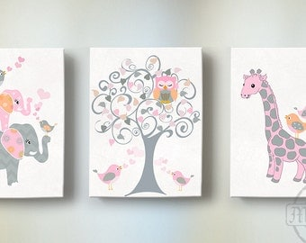 Elephant Nursery Art - Baby Girl Nursery Art, Pink and Gray Nursery Decor - Elephant Giraffe,Owl - Canvas Art