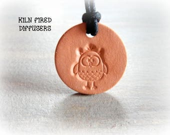 Small Ceramic Owl Clay Diffuser Pendant Necklace Kids Children Aromatherapy Essential Oil Diffuser Eco Friendly Terracotta Unglazed Organic